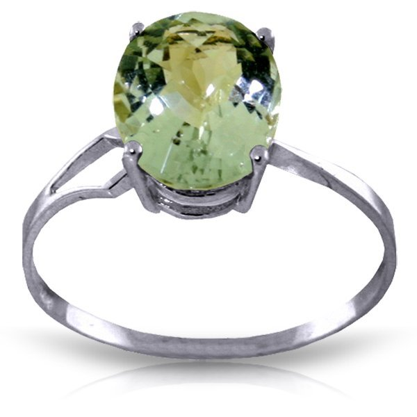 14k WG 2.20ct Green Amethyst Oval Ring