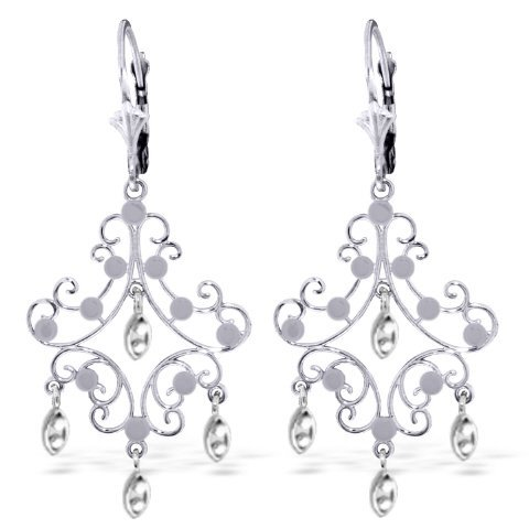 14k SOLID 3.00gr White Gold Chandelier Earrings