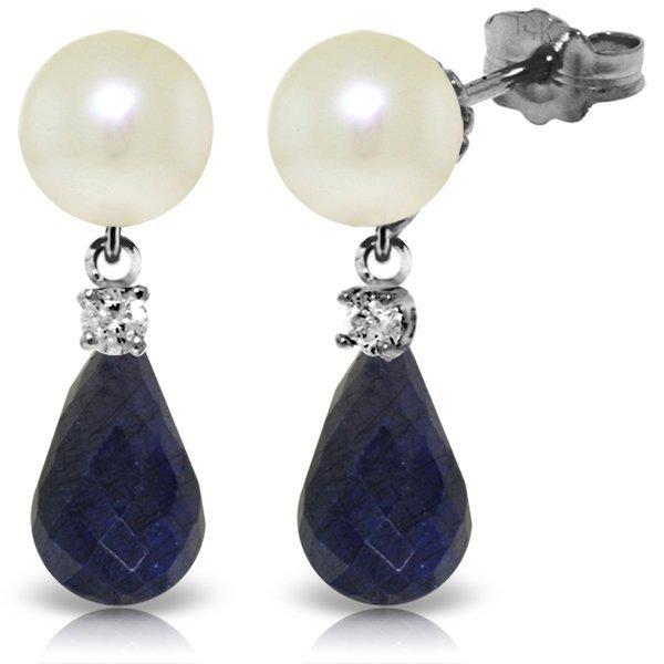 14k WG Pearl, Diamond & 6.60ct Sapphire Earrings