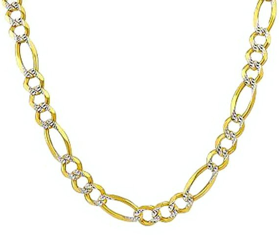 """24"""" 14k Solid Gold Pave Figaro Chain 3.8mm wide"""