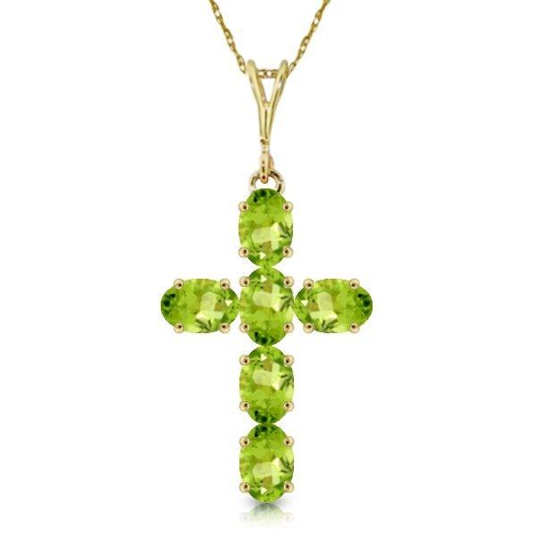 14k Yellow Gold 1.50ct Peridot Cross Necklace