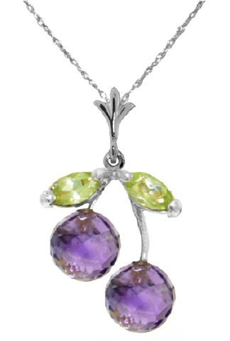 14k WG 1.25ct Amethyst and Peridot Petite Necklace