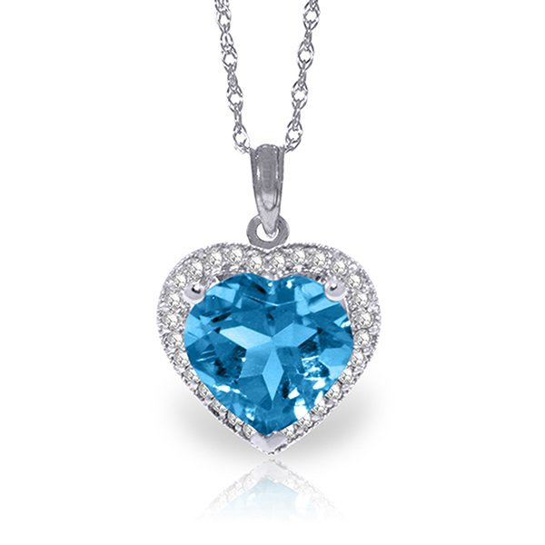 14k Solid Gold 6.30ct Blue Topaz & Diamond Necklace