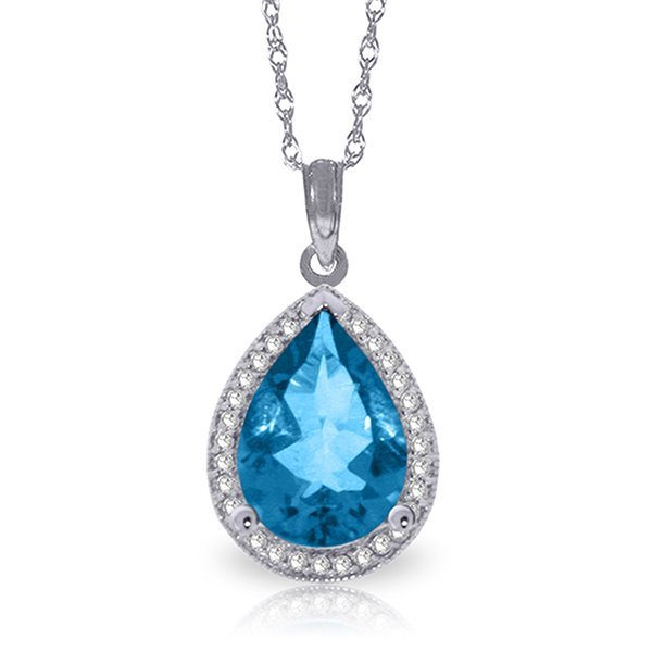 14k Solid Gold 4.50ct Blue Topaz & Diamond Necklace