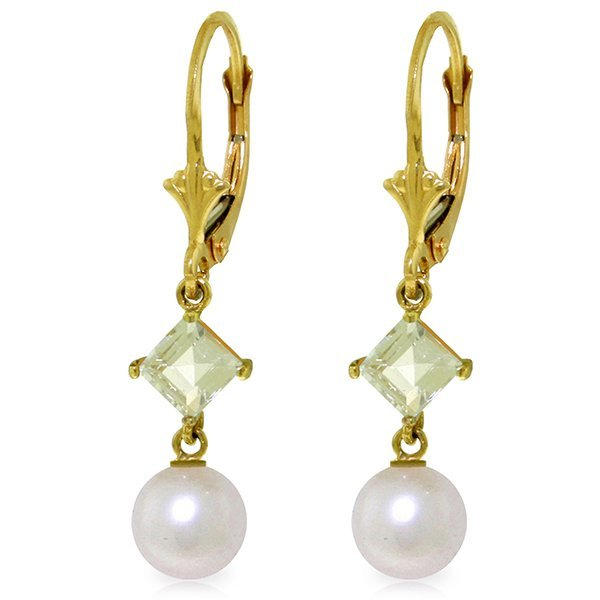 14k YG 1.0ct Aquamarine & Pearl Dangle Earrings