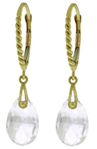 14k Solid Gold 6.0ct White Topaz Earrings