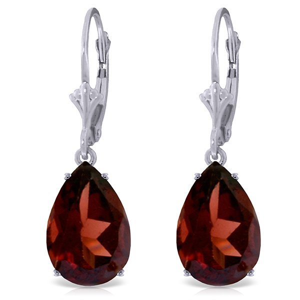 14k Solid Gold 10.0ct Garnet Drop Earrings
