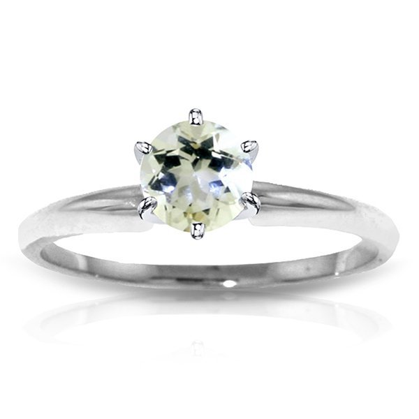 14k WHITE GOLD 0.65ct Aquamarine Solitaire Ring