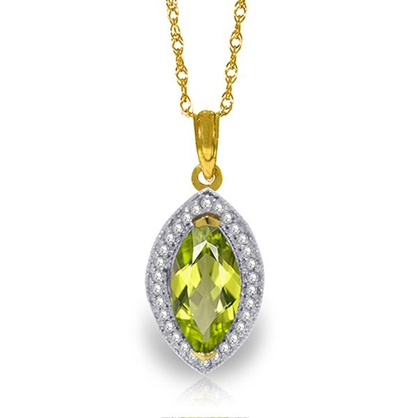 14k Solid Gold 2.0ct Peridot & Diamond Necklace