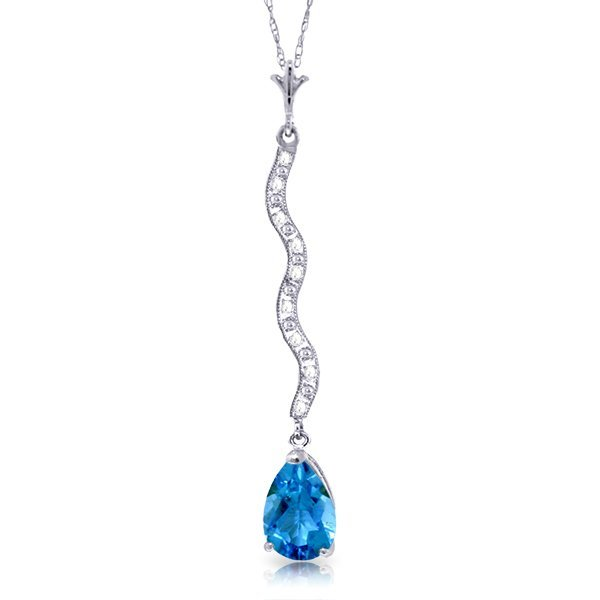 14k Solid Gold 1.75ct Blue Topaz & Diamonds Necklace