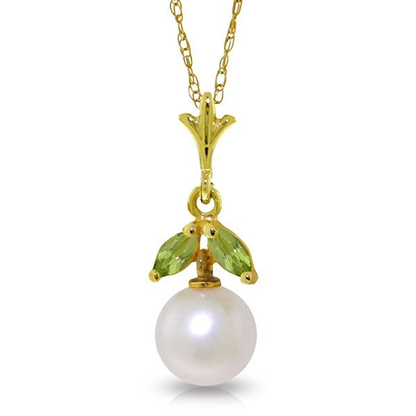 14k Solid Gold 0.20ct Peridot & Pearl Necklace