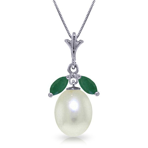 14k WG 4.00ct Pearl Necklace with .50ct Emeralds