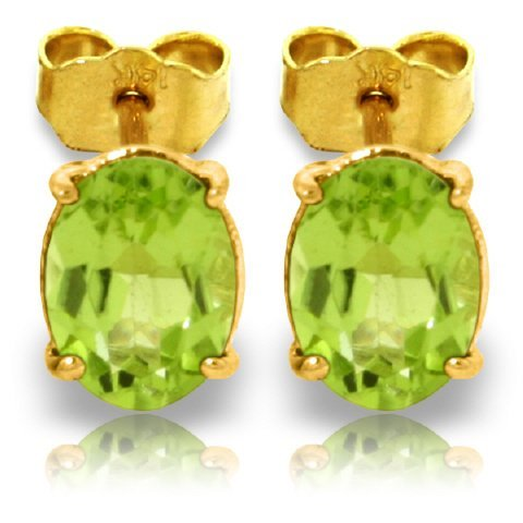 1.80ct Oval Peridot Stud Earrings in 14k Gold