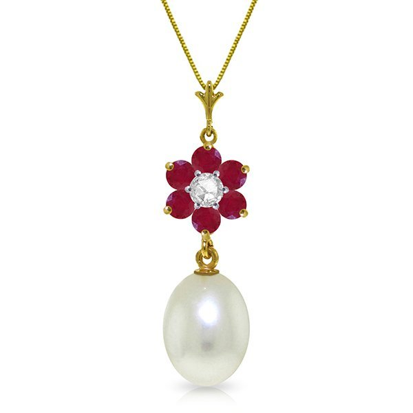 14k Solid Gold Ruby, Pearl & Diamond Necklace