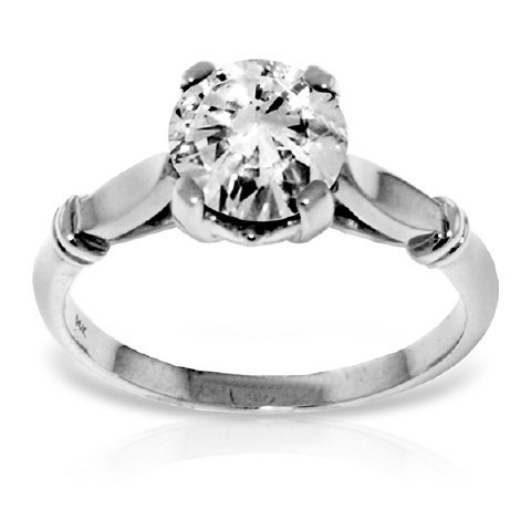 1.0 CT F-G SI3 Genuine Diamond Ring in 14k White Gold