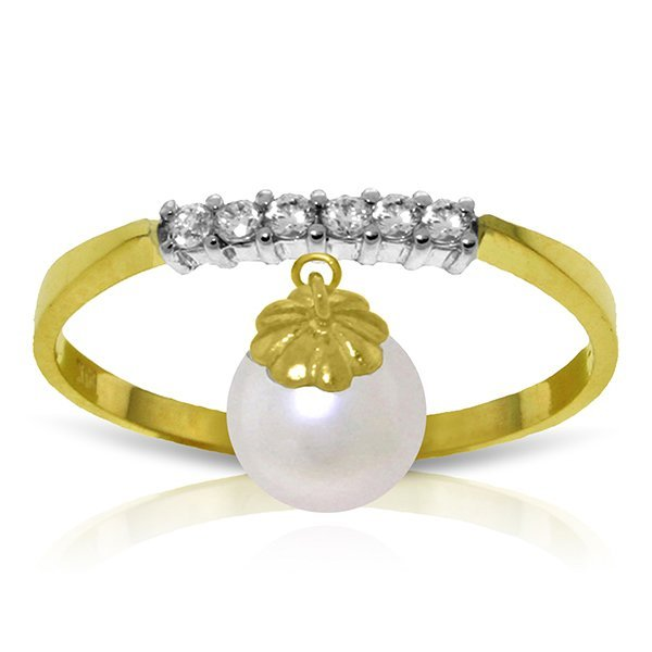 14k Solid Gold Pearl & Diamond Ring