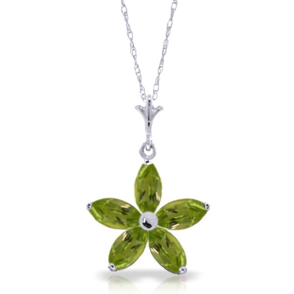14k Solid Gold 1.40ct Peridot Flower Necklace