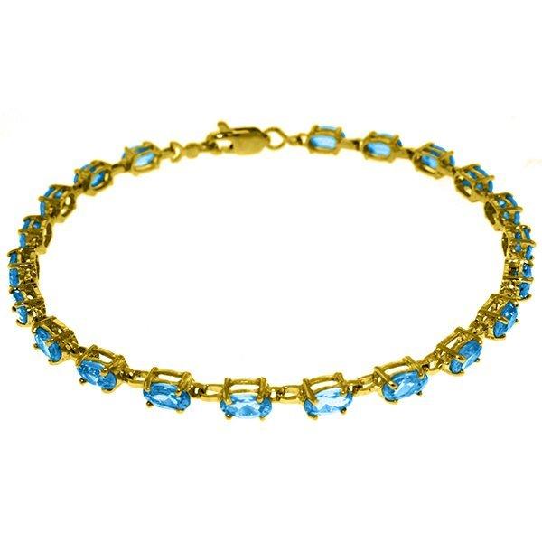 14k Solid Gold 5.50ct Blue Topaz Bracelet