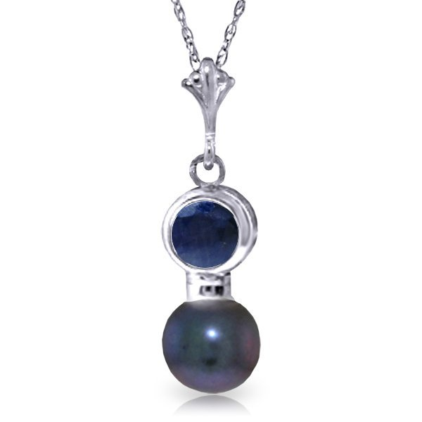 14k Solid Gold 0.48ct Sapphire & Pearl Necklace