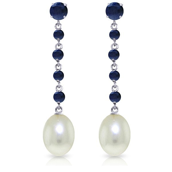 14k Solid Gold Sapphire & Pearl Earrings