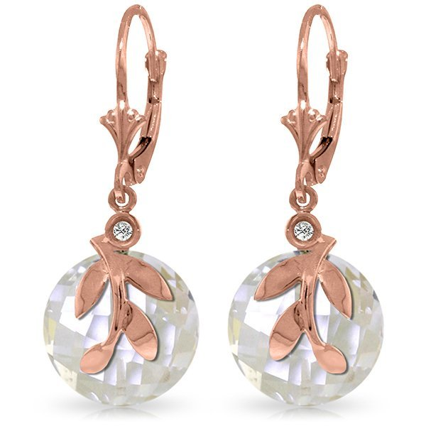 14k Solid Gold 14.70ct White Topaz & Diamond Earrings