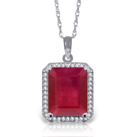 14k Solid Gold 7.25ct Ruby & Diamond Necklace