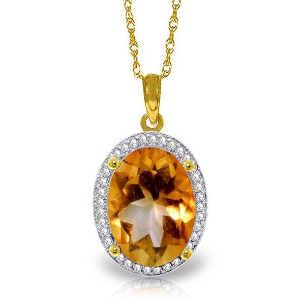14k Solid Gold 4.70ct Citrine & Diamond Necklace