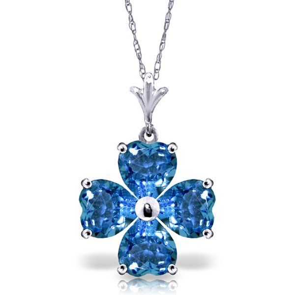 14k White Gold 3.80ct Blue Topaz Necklace