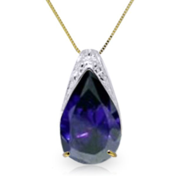 14k Yellow Gold 4.65ct Sapphire Drop Necklace