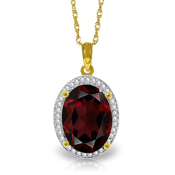 14k Solid Gold 6.05ct Garnet & Diamond Necklace