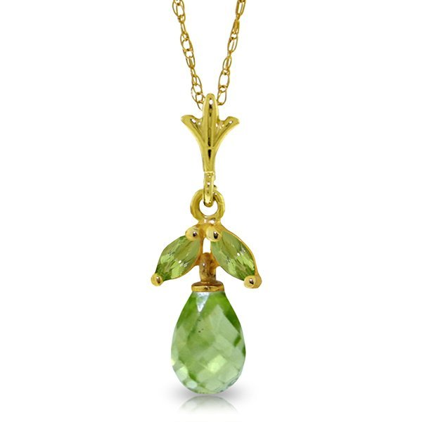 14k Solid Gold Peridot Petite Necklace
