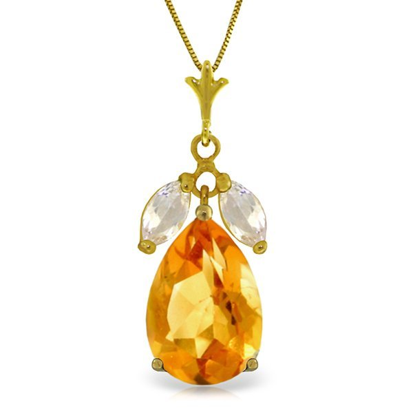 14k Solid Gold 6.0ct Citrine & White Topaz Necklace