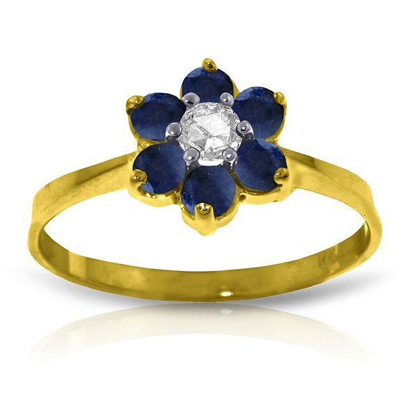 14k Solid Gold 0.15ct Diamond & Sapphire Ring