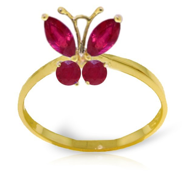 .40ct & .20ct Ruby Butterfly Ring in 14k YELLOW GOLD