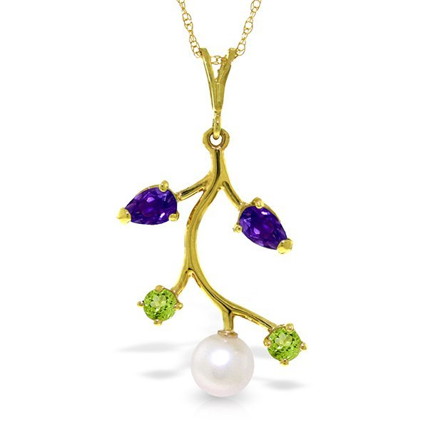 14k Solid Gold Amehyst, Peridot & Pearl Necklace