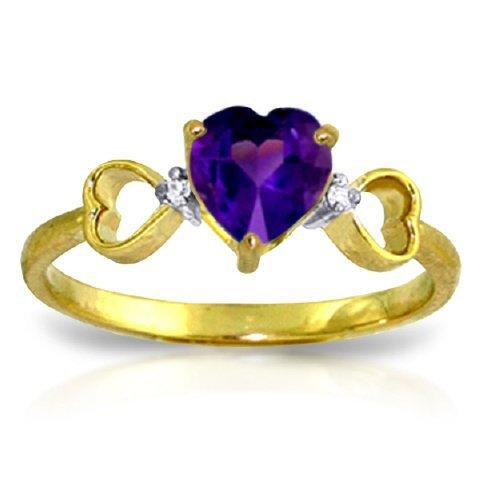 14K Y. GOLD DIAMONDS & 0.95 HEART AMETHYST RING