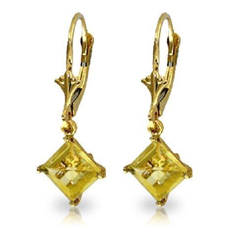 14k YELLOW GOLD 3.20ct Citrine Dangle Earrings