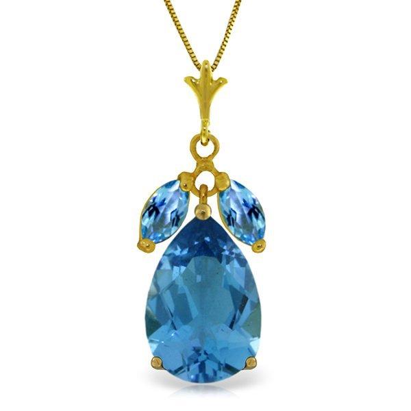 14k Solid Gold Blue Topaz Necklace