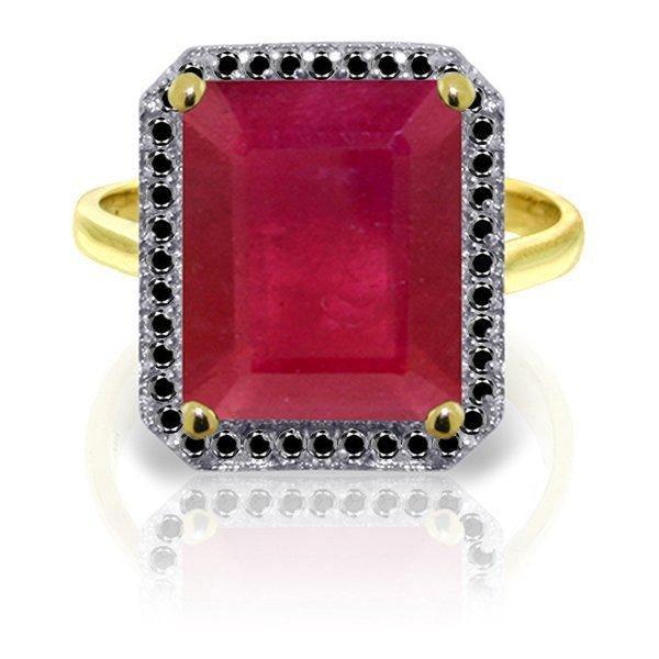 14k YG 7.25ct Ruby with Black Diamonds Ring