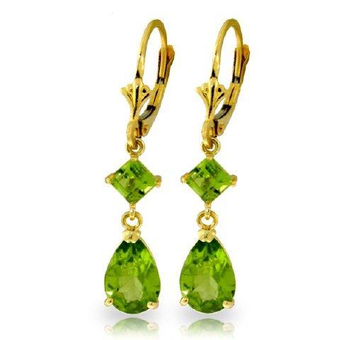 3.50ct & 1.00ct Peridot Long Drop Earrings in 14k YG