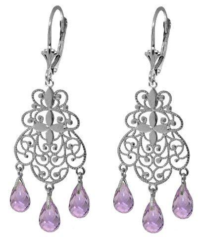 14k WHITE GOLD 3.75ct Amethyst Chandelier Earrings