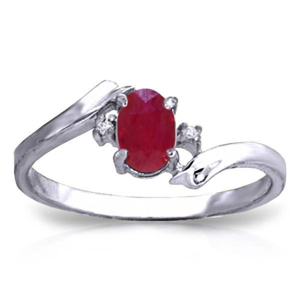 14K Y. GOLD 0.01ct DIAMOND & 0.45ct OVAL RUBY RING