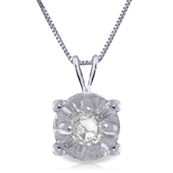 14K WHITE GOLD 0.03ct NATURAL DIAMOND NECKLACE
