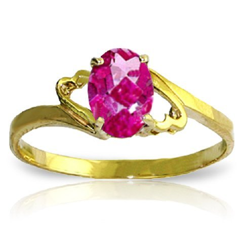 1.00ct Oval Pink Topaz Ring in 14k Yellow Gold
