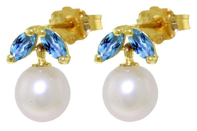 14k YG 4.00ct Pearl & 0.40ct Blue Topaz Petite Earrings