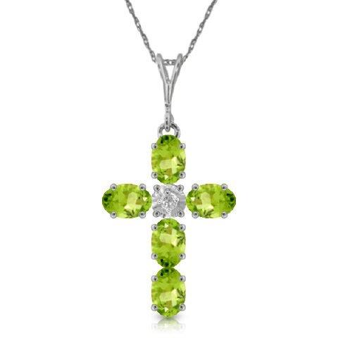 14k WG 1.73ct Peridot & .15ct Diamond Cross Necklace