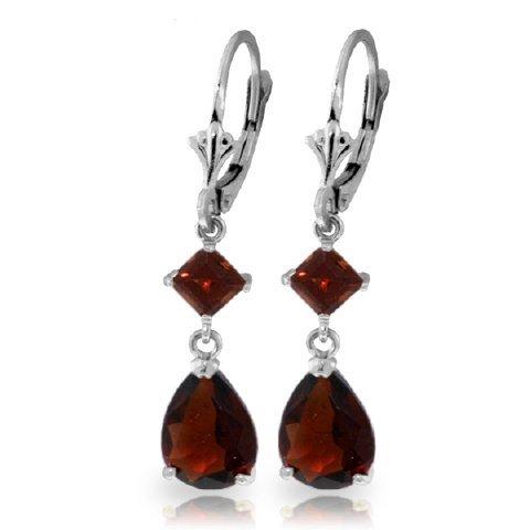 3.50ct & 1.00ct Garnet Dangle Earrings in 14k WHITE