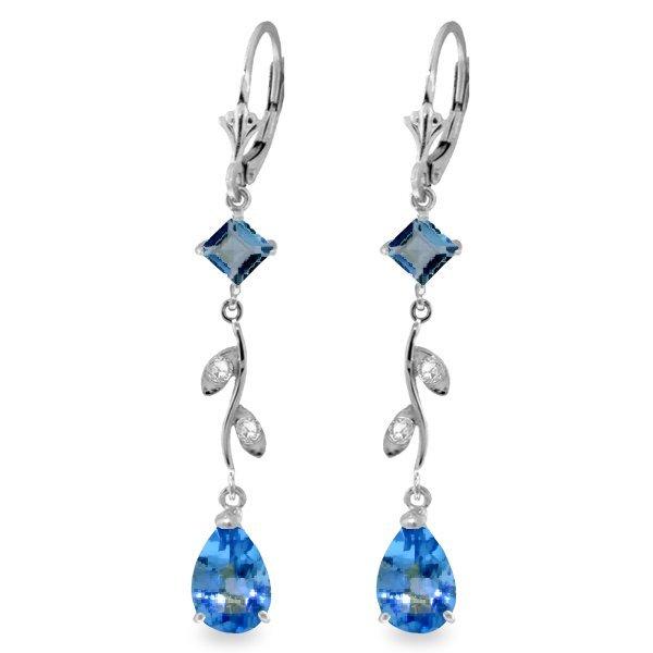 14K WG DIAMOND & 3.0ct&.95ct BLUE TOPAZ EARRING