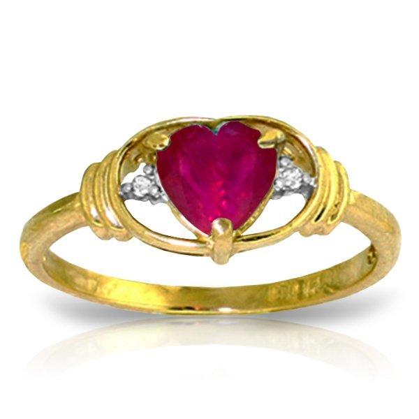 14K YG 0.01ct DIAMOND & 1.00ct HEART RUBY RING