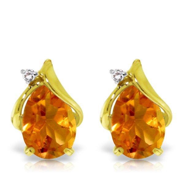14K YG DIAMOND & 3.20ct PEAR CITRINE STUD EARRING